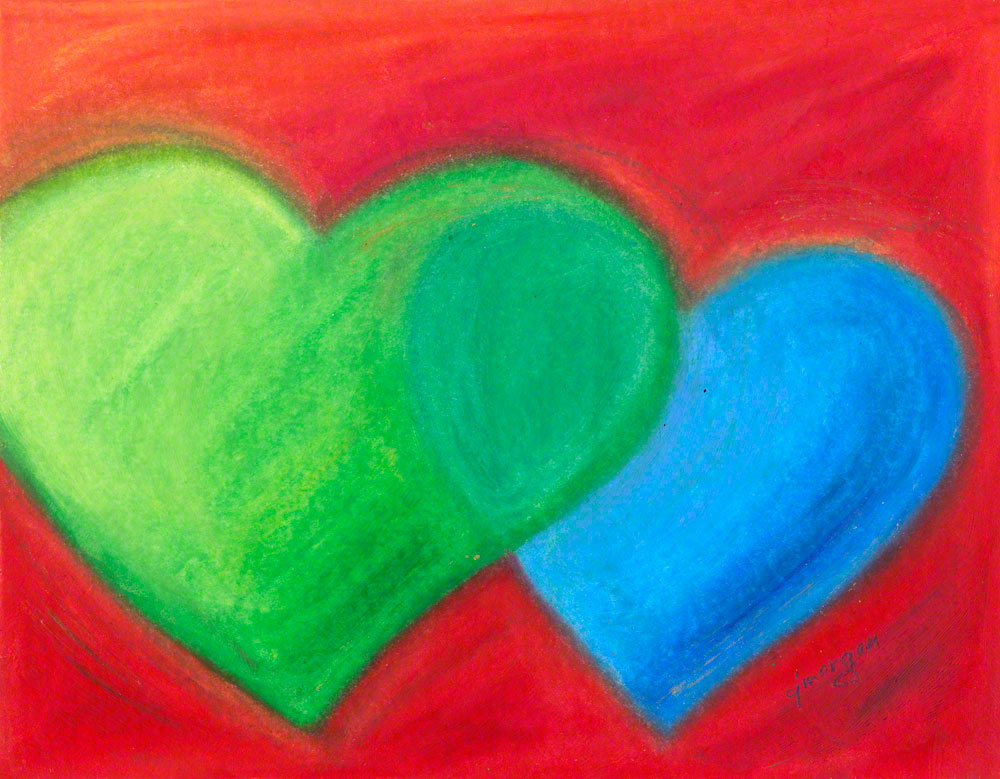 """Abide with Me"" (SOLD) - Prints available. Heart painting © 2012 Catherine Jo Morgan, oil pastel and mixed media"