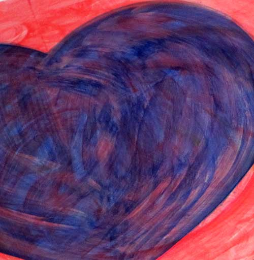 "Heart painting in process -- #150035 -- one of the ""contemporary icons"" - © 2017 Catherine Jo Morgan"