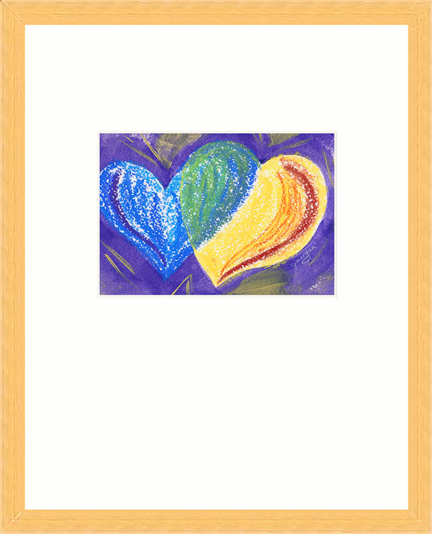 """Divine Play"" - Oil pastel and acrylic heart painting © 2009 Catherine Jo Morgan, #090018. Painting is 5 by 7 inches, framed in vertical mat, 14 by 11 inches. ($90 matted, $140 framed) -"