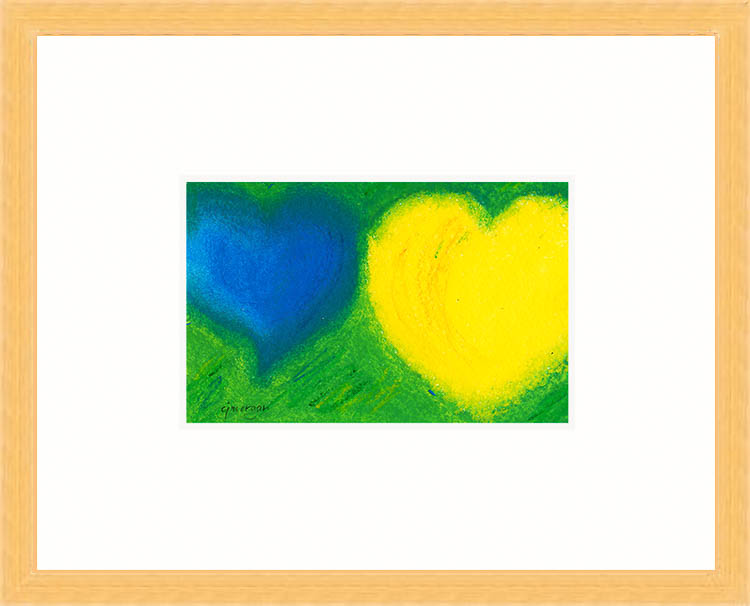 "Framed heart painting © 2009 Catherine Jo Morgan, ""I Will Give You Everything"" - oil pastel on Arches 300-lb. watercolor paper, signed cjmorgan. Image 4"" X 6"" - framed 8"" x 10"""