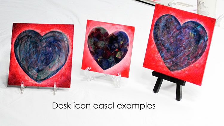Anam Cara desk icons by Catherine Jo Morgan are heart paintings especially made for intimacy, to encourage you right where you work.