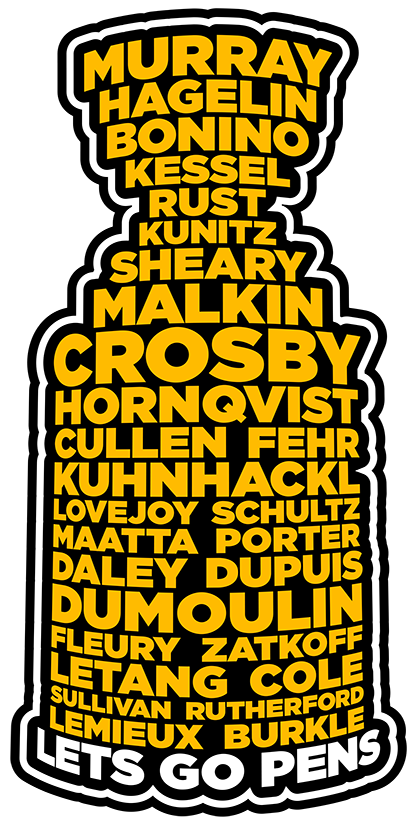 "Lets Go Pens Cup Sticker (Revised 12/16) 5.5""x2.75"" Die Cut"