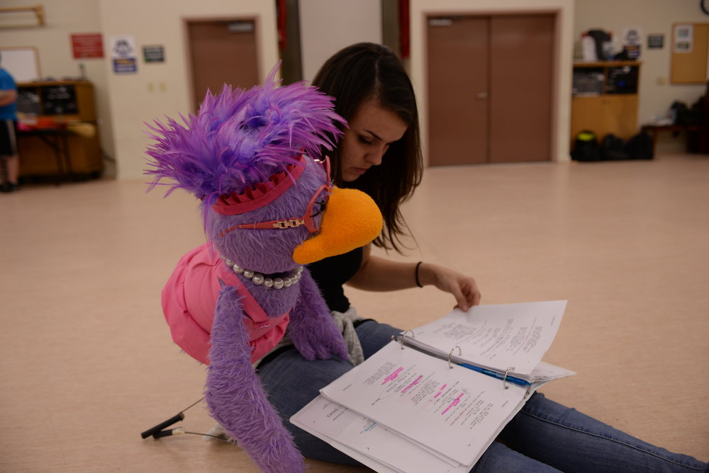"Kelsey Brady (performs Francise Birdling) rehearsing for ""Bird Call the Musical"" in 2015"