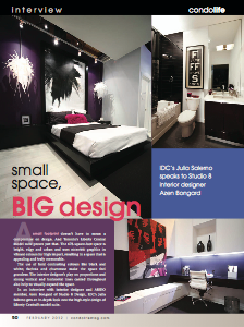 Studio 8 Design was featured in the February 2012 Condo Life Magazine