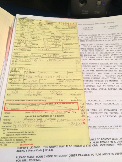 The first speeding ticket I had gotten since 2002. Funny that it was in the same 101 exit ON MY BIRTHDAY that last time.
