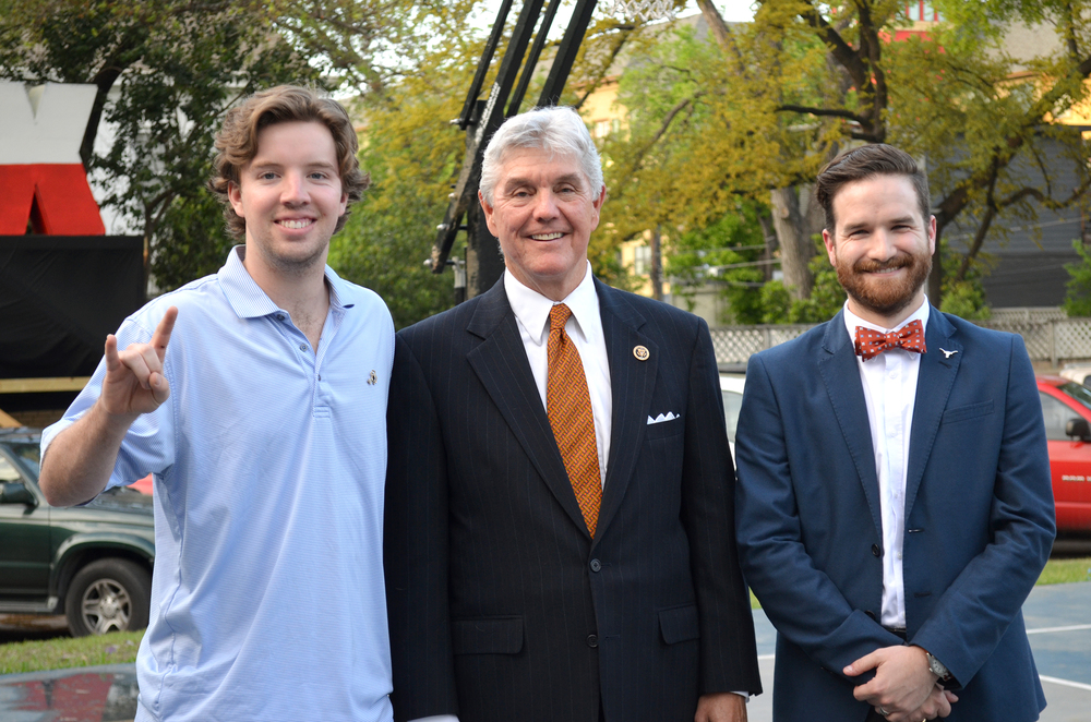 Consul Andrew Bain, Alpha nu 2016, Rep. Roger Williams, Epsilon Mu 1972, and Brother David Glenn, Alpha nu 2011, are pictured at the chapter house following rep. Williams' appearance at chapter meeting.