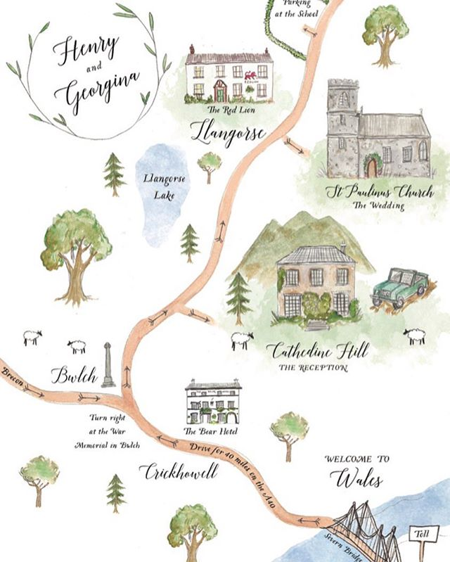 An Illustrated Welsh Wedding Map for @henryolone and @georgieolone 🌳  #illustratedmap #weddingmap #illustrated #weddingstationery #weddinginvitations