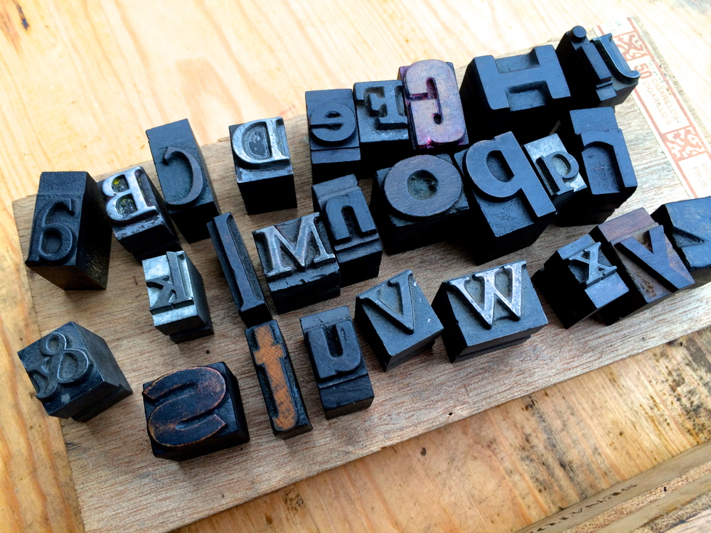 Small mixed wood and metal letterpress alphabet
