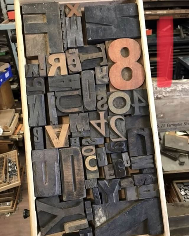 "4 more sets of random wood letters available - scroll for more images. £35 a set. Total area is around 20"" x 10"". The case is not included. They will all clean up fine and are suitable to print with. Due to the weather nothing is now being shipped until Monday. #letterpress #woodletter #woodtype #vintageletters #type #mixed #random #justodds"