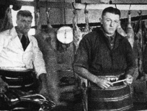 Butchers at work in Platz Brothers Butchery, Toowoomba, 1935