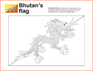 Bhutan's Flag coloring page