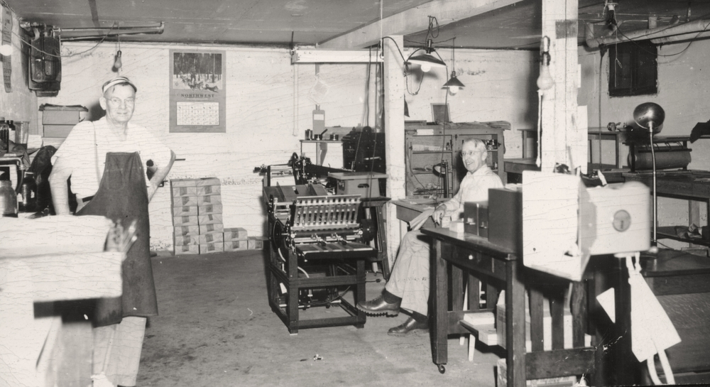 Ray Carter (right) and Ralph Fletcher began doing printing for the Friends Church in 1948.