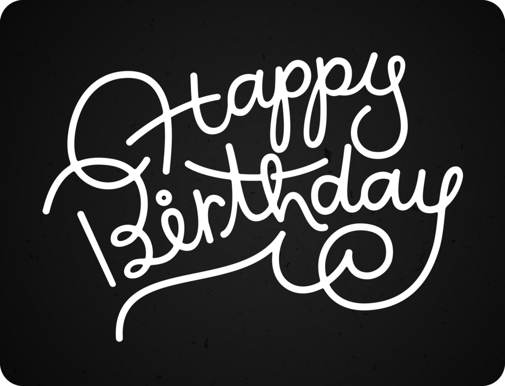 Quick lettering for a birthday newsletter promotion.
