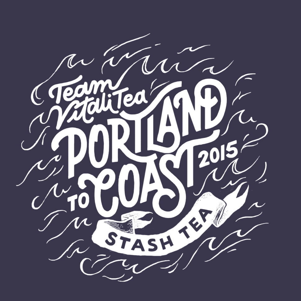 Hand-lettered sweatshirt design for our Portland to Coast team's fourth year participating (and placing in our division)!