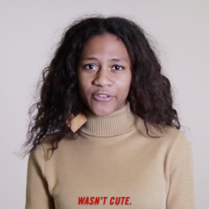 This is a screenshot from Marie Claire's #WhatIWishISaid video, chronicling verbal accounts from an array of women. Screengrab via MarieClaire.com