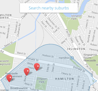"A screen shot from the map view that now allows uses to switch between specific suburb searches and the broader search of ""All Suburbs"""