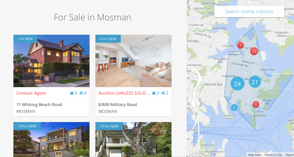 The 'New' features in the top corner for new listings on the Homely site, helping consumers find what is new.