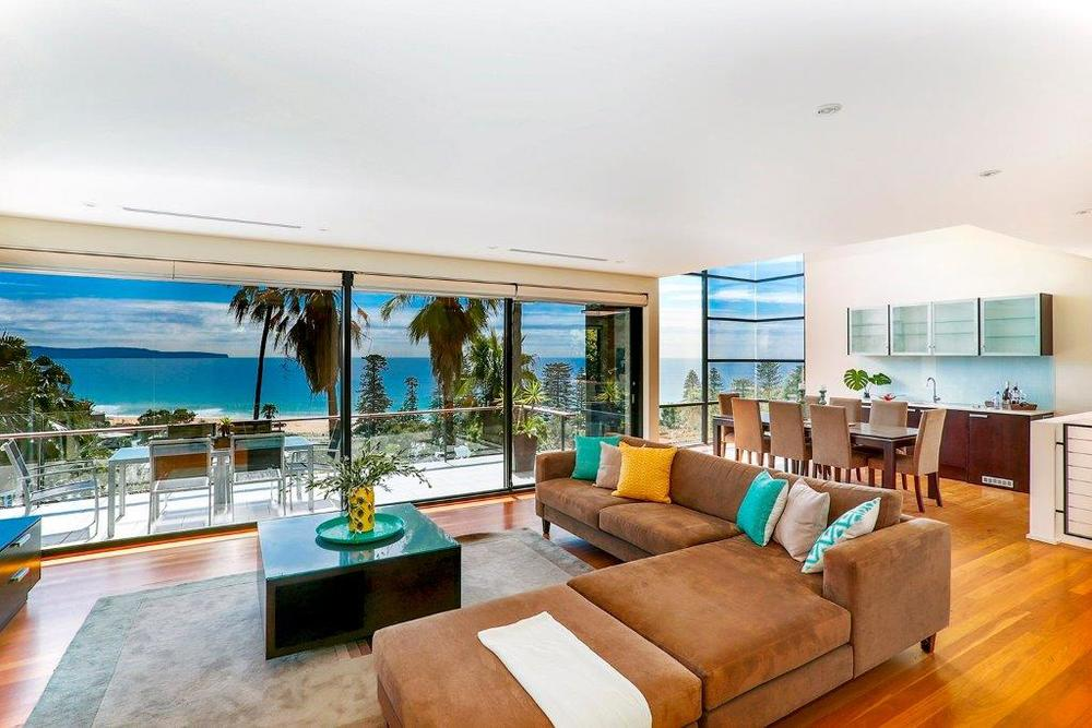 The inside interior and living room of Hewitt's beachside home.