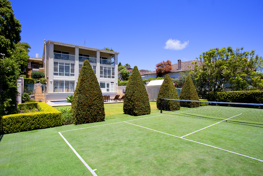 Full sized tennis court is also included.