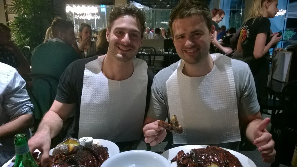 Adam and Todd on a night out with the largest serving of ribs ever!