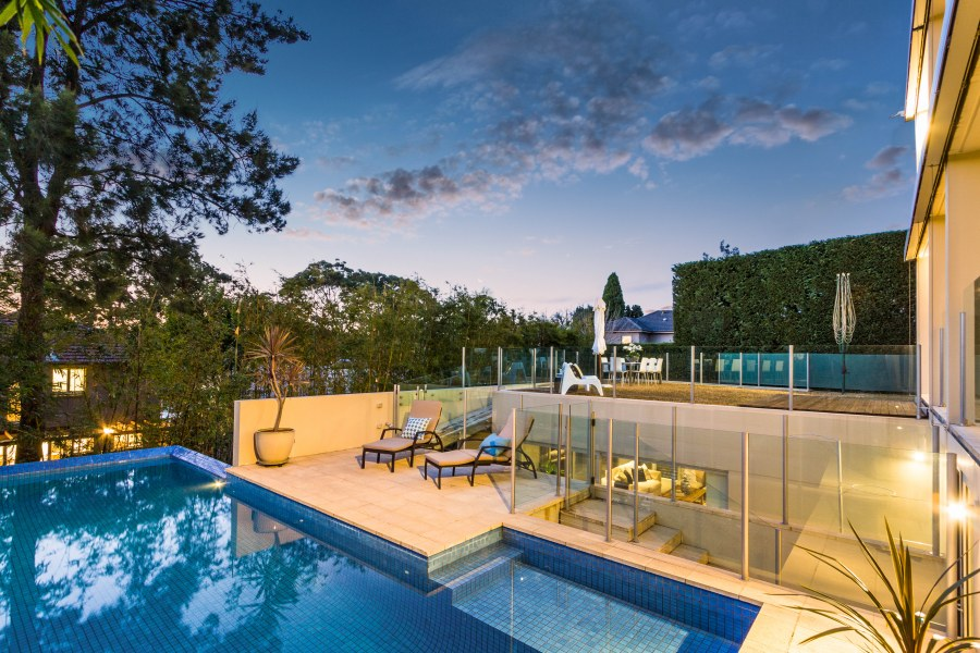 The pool is one of the main features of this fantastic home.
