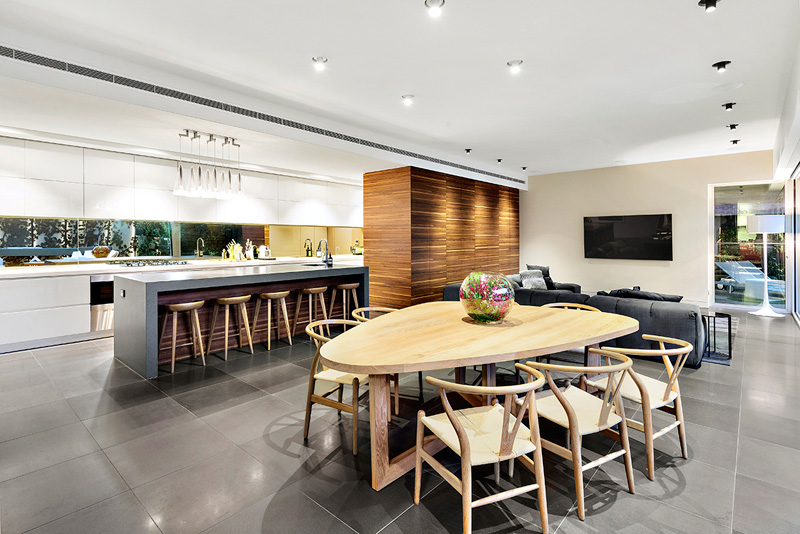 The open plan kitchen that is elegantly styled and provides open living options.