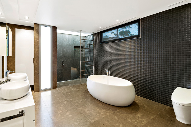 The modern bathroom.
