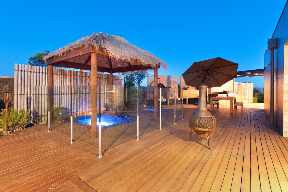 The private cabana that covers the pool is situated in its own private area on the property.