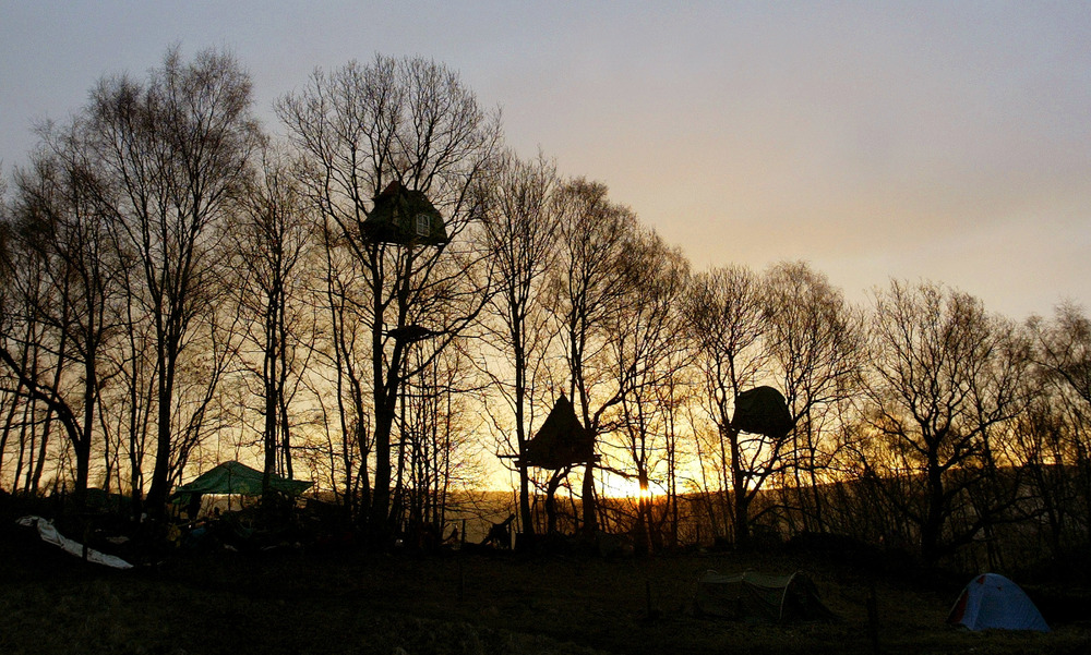 Treehouses on the Nine Ladies site in Stanton Lees, Derbyshire in Northern England