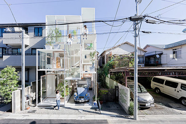 Located in Tokyo, this home has nothing but glass and is visible by all! 5.
