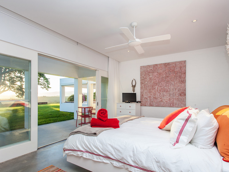 Bedrooms look out to the fresh greenery