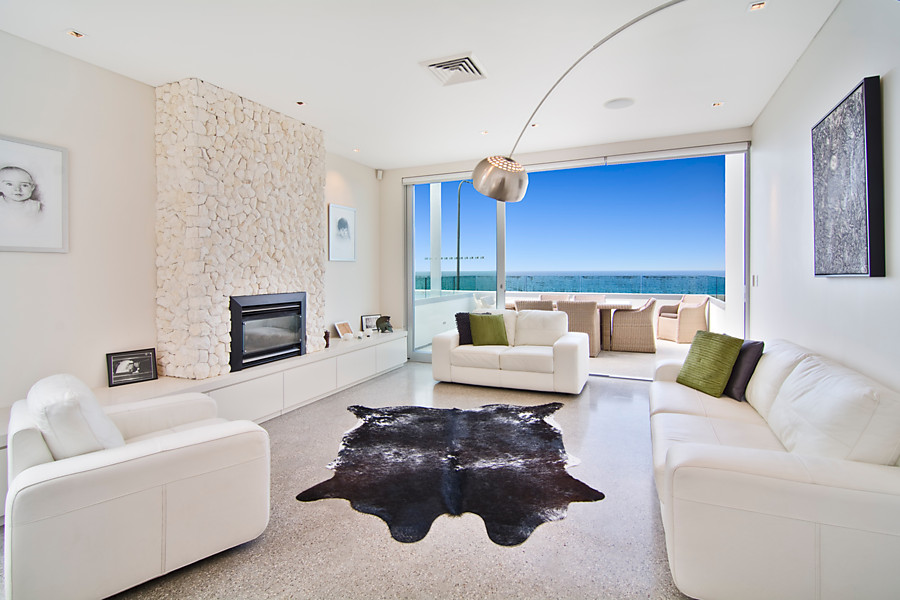 The living room at 10 Carrington Parade, Freshwater, NSW