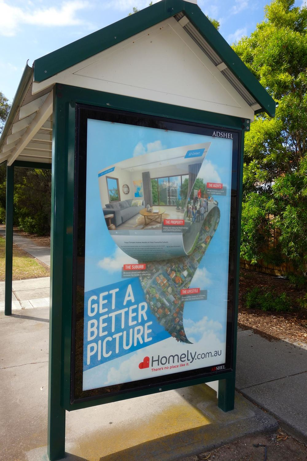 A bus shelter in Williamstown now branded Homely!
