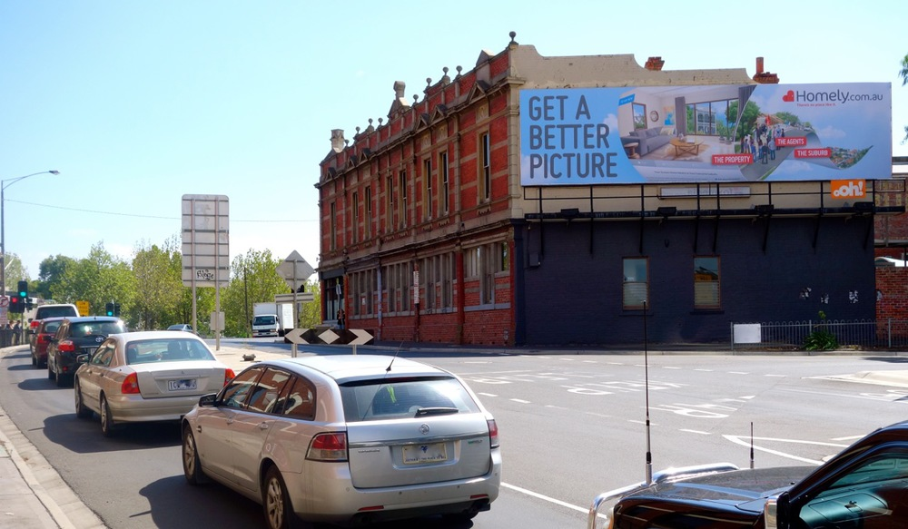 Homely's marketing in Footscray, seen by thousands daily.
