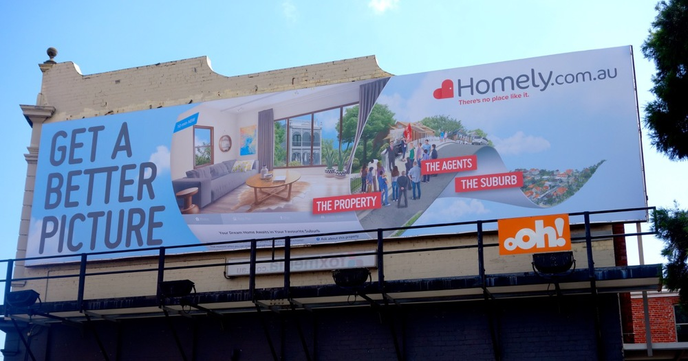 One of the Homely billboards in Footscray