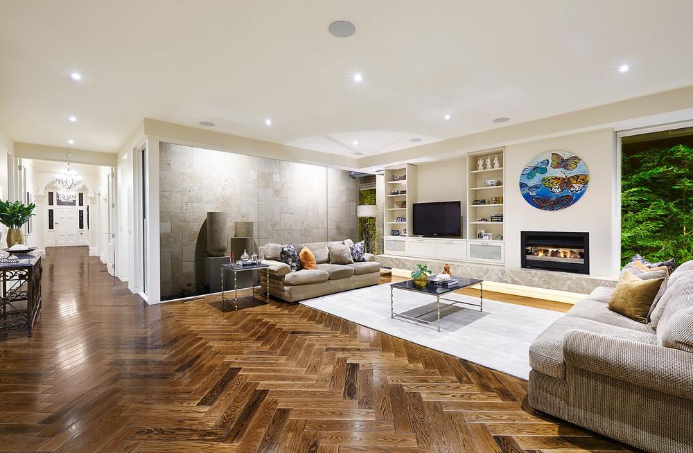 American oak timber herringbone floors, 12 Denbigh Road, Armadale, VIC.