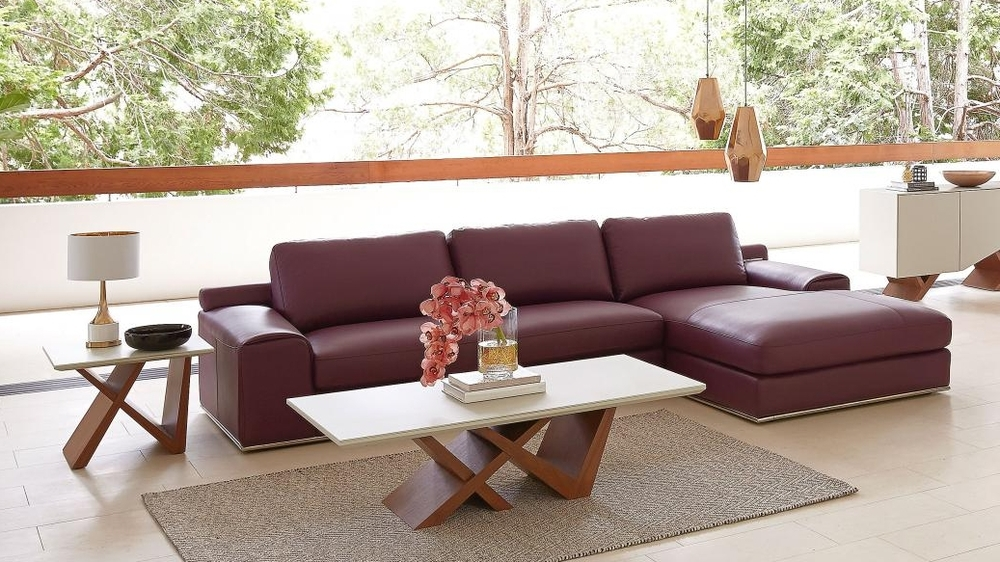 Domayne Grande 2-Seater Leather Sofa in burgundy
