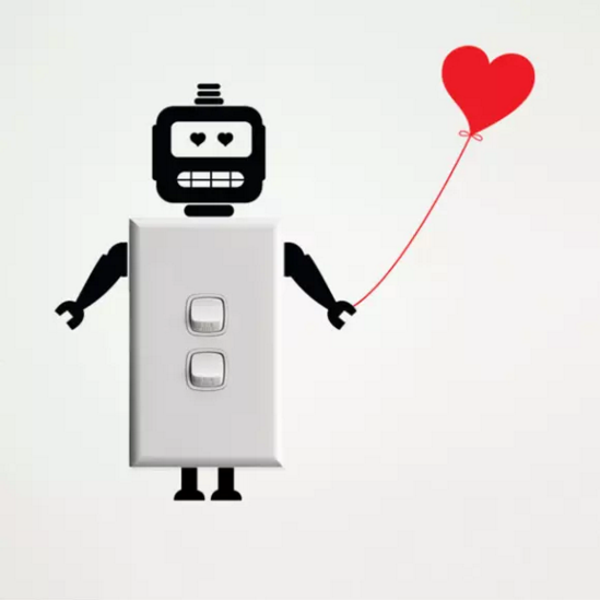 Robot With Heart Wall Sticker for Light Switches by Vinyl Interior Design from Hardtofind, $20.