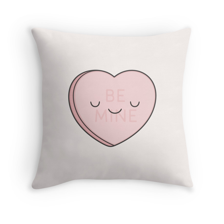 Pink Candy Heart Throw Cushion from Red Bubble , $23.31.