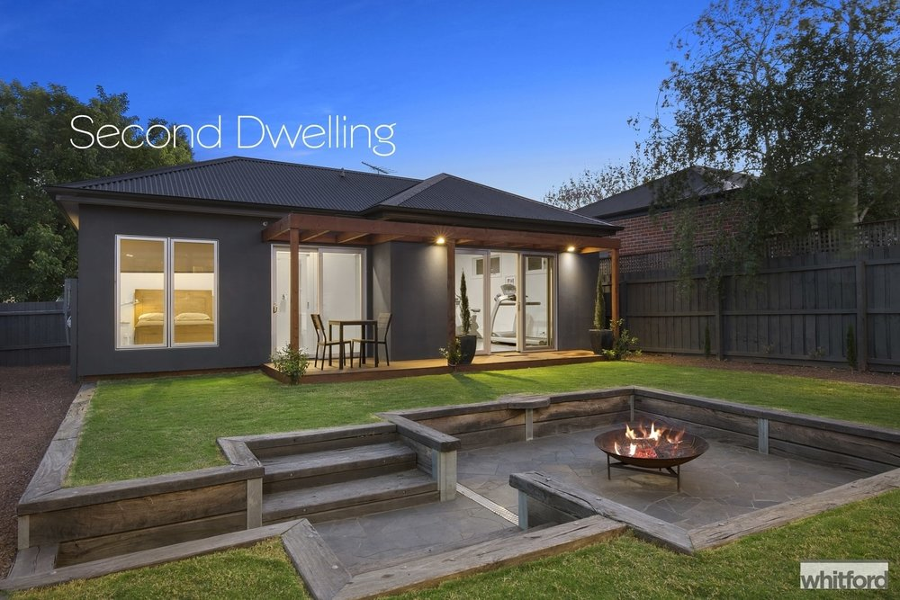 For sale: 77 Nicholas Street, Newtown, VIC - This modern granny flat contains a bedroom, bathroom, living area and storage.