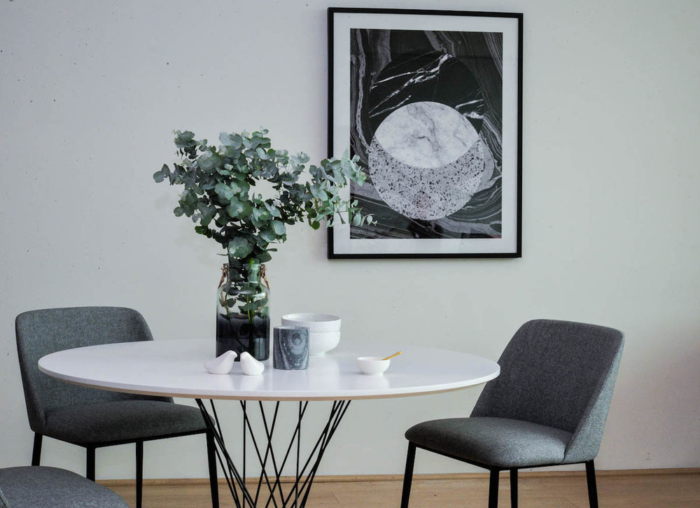 Featuring: Tisha Dining Chair in Grey + Cyclone Round Dining Table in White (Isamu Noguchi Replica)