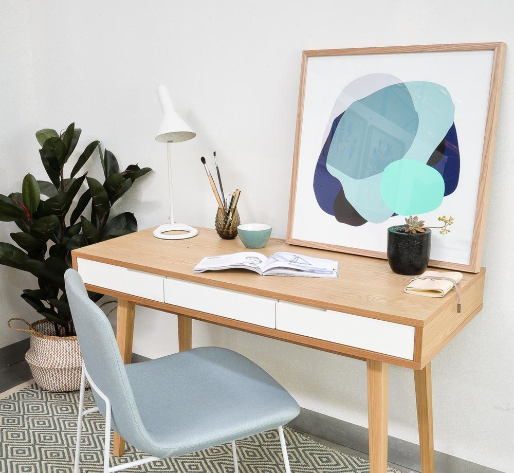 Featuring: Alberta 3 Wall Art Print + Hemma Dining Chair in Grey.