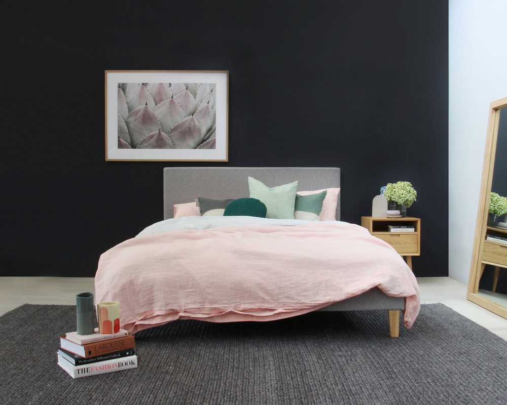 Get the look: Narelle Modern Designer Scandinavian Slatted Bed - Queen Size - Light Grey, Mia Contemporary Nightstand with Shelf, Cactus Blush Framed Print