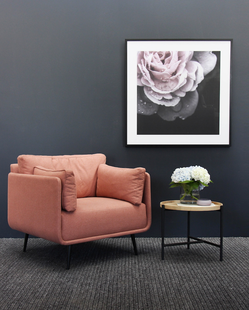 Get the look: Trian Framed Print, Aston Occasional Chair – Rose, Rudy Modern Designer Side Table