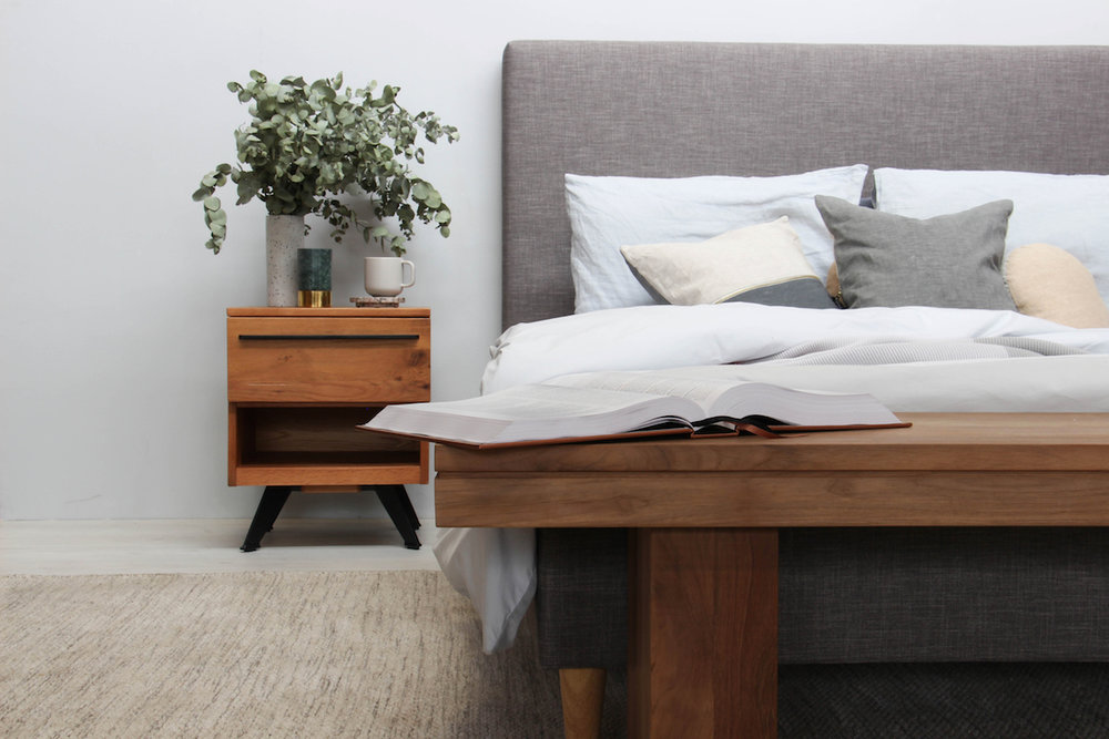 Get the look: Narelle Modern Designer Scandinavian Slatted Bed - Queen Size - Light Grey, Ambrose Solid Wood Bedside Table