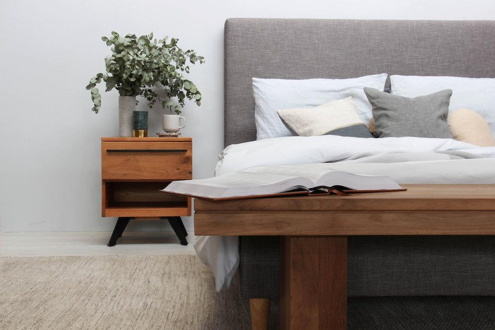 Get the look: Narelle Modern Designer Scandinavian Slatted Bed - Queen Size - Light Grey, Ambrose Solid Wood Bedside Table