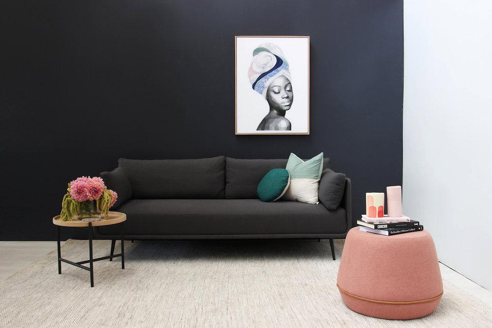 Get the look: Brent Rosenberg – Saint Wall Print, Rudy Modern Designer Side Table, Arnie Scandinavian Style Designer Ottoman - Rose with Tan Piping, Aston 3 Seater Sofa - Shadow Grey