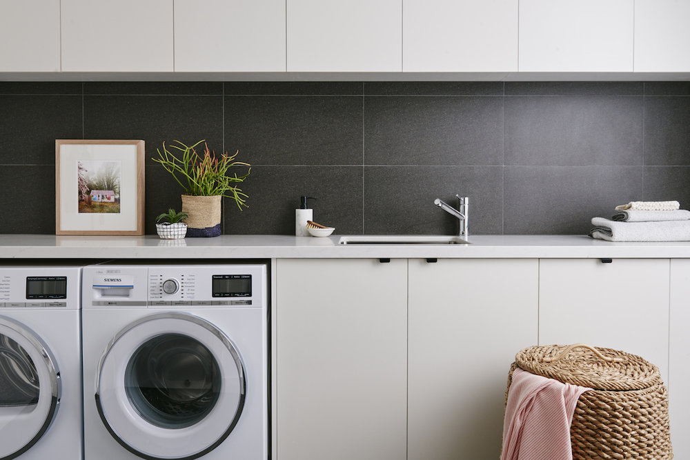 Image: e&s. Photographer: Nikole Ramsay Styling: Michelle Hart, Bask Interiors Product: Siemens Washer WN16S741AU & Siemens Dryer T48Y780AU