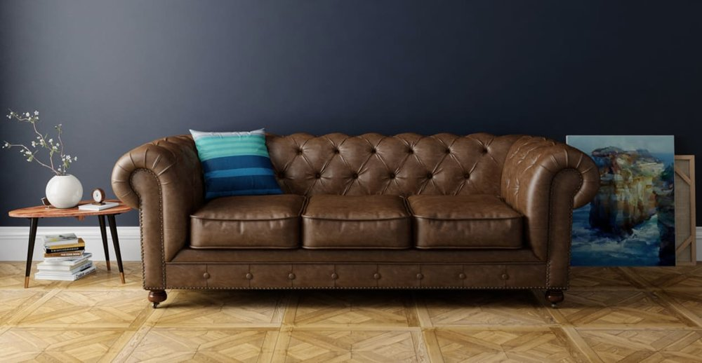 Image: Brosa, Camden Chesterfield Leather 3.5 Seater Sofa