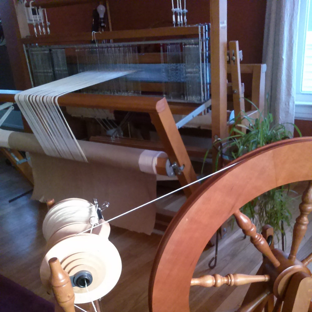 Ashford Traditional spinning wheel and LeClerc Franny loom.